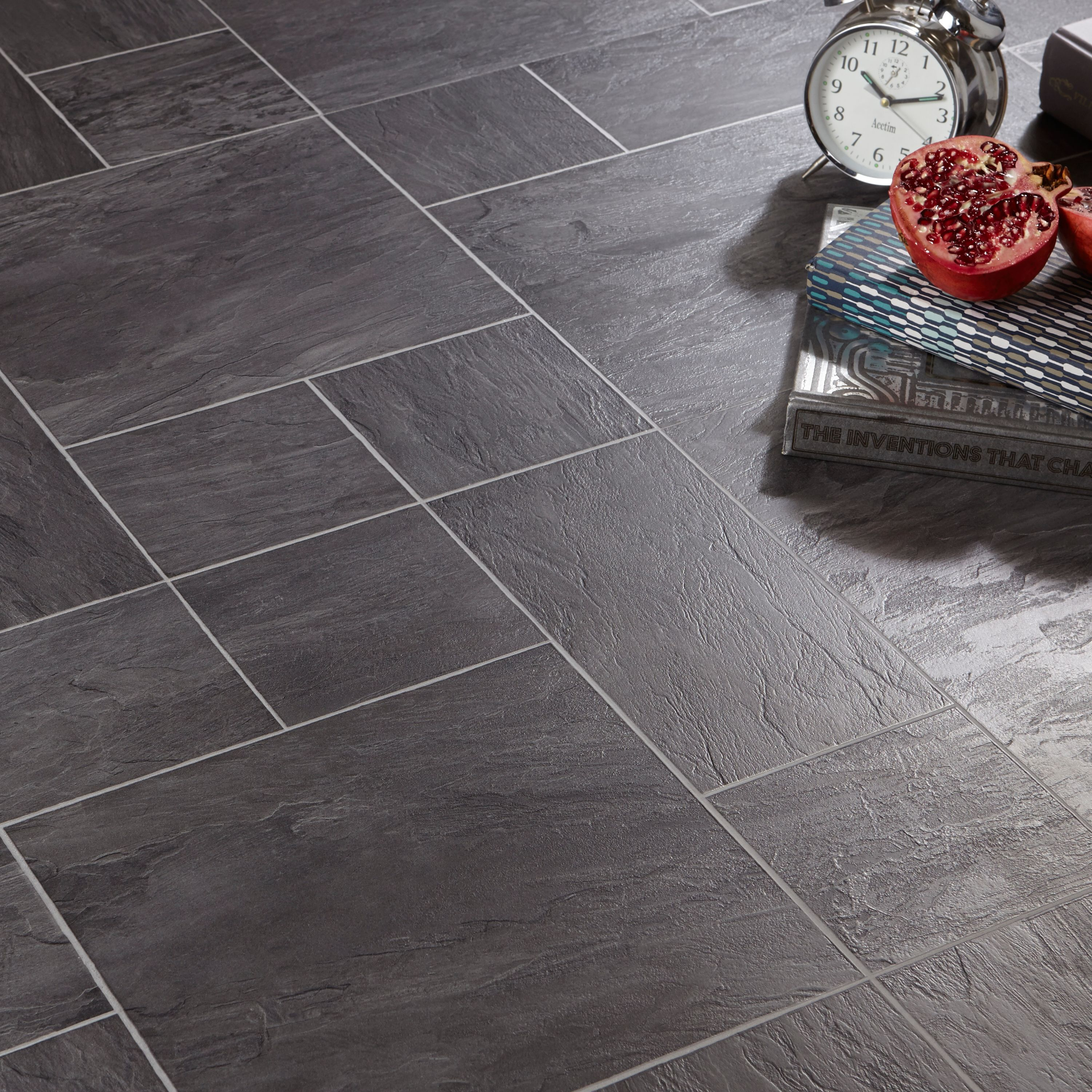 Libretto Black Slate Tile Effect Laminate Flooring 1.86 m ...