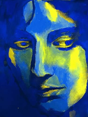 "Buy ""Profound thinking"", a Acrylic on Canvas by Helena Wierzbicki from Argentina. It portrays: Women, relevant to: helena wierzbicki, fine art, portrait art, Original Painting, acrylic on canvas, woman face, blue and yellow, female figures, artwork, abstract portraiture, art portraits, affordable paintings for sale Abstract Art Portrait Medium: Acrylic on canvas Size: 50x67 cm. (19.8x26.5 in.)"