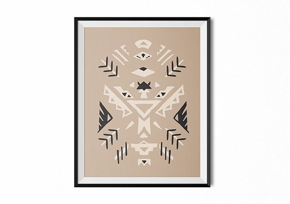 Arrows print, Native American art print, chevron, neutral color print, neutral color art, tribal pattern print, folk art print, boho art, dorm
