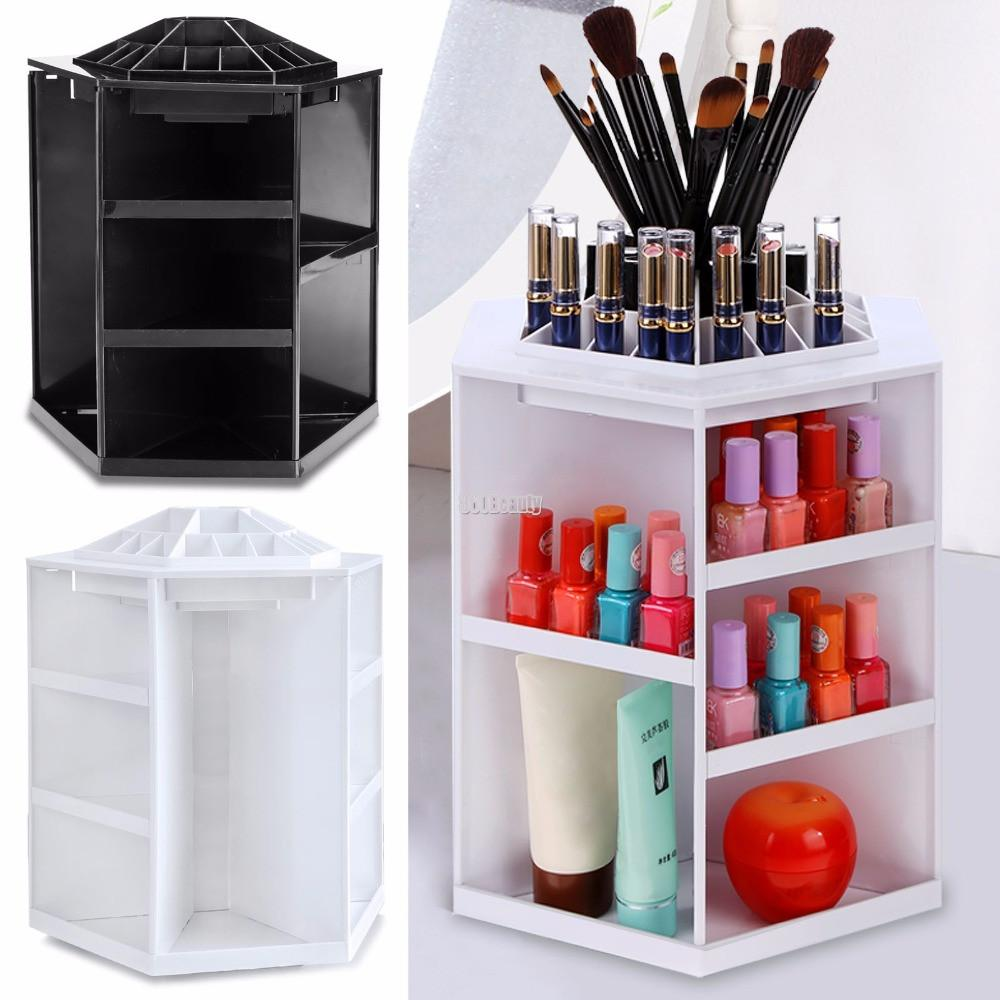 360 Degree Rotating Plastic Cosmetic Storage Makeup Organizer Cosmetic Storage Makeup Storage Display Makeup Organization