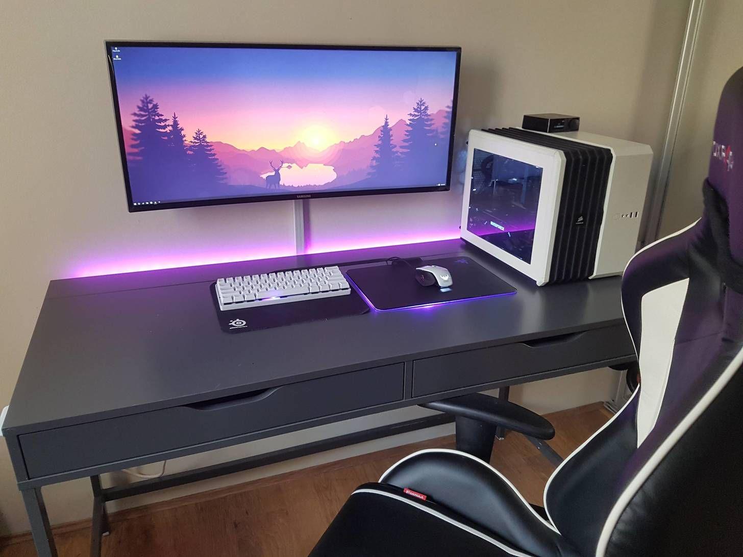 Pin By Kandice W On Workspace Gaming Setup Desk Setup Diy