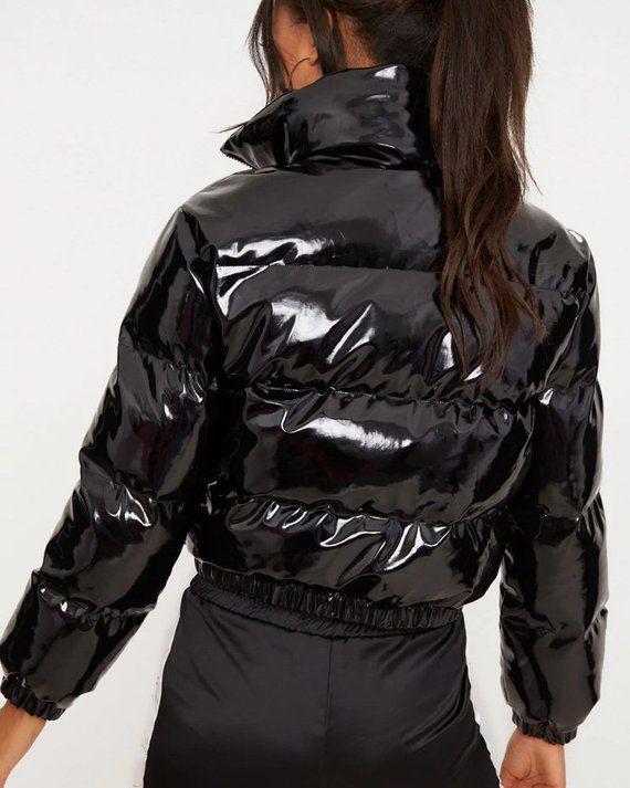 Shiny PVCVinyl Down Jacket Short Puffer Bomber Black | Etsy