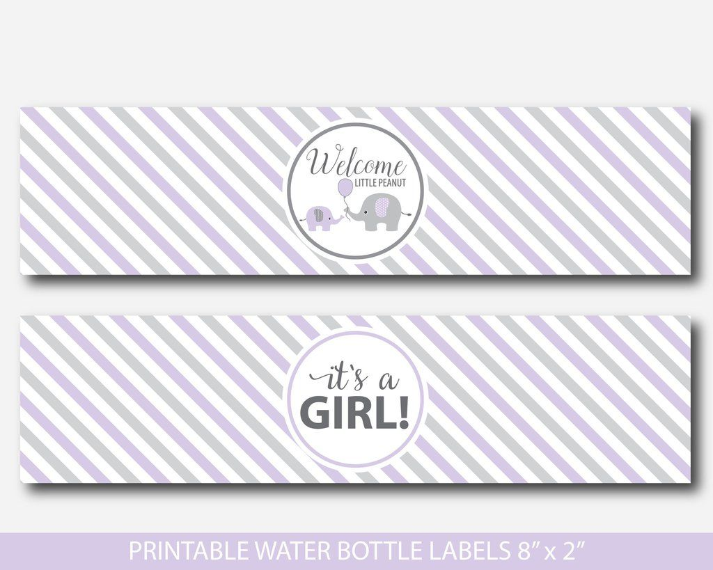 Printable Elephant Water Bottle Labels In Purple And Grey Baby Shower Water Bottle Labels