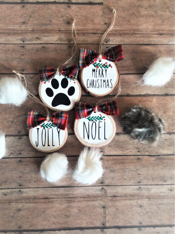 Christmas Ornament Wood Slice Ornament Dog Mom Ornament Pow Etsy Dog Christmas Ornaments Dog Lovers Christmas Wood Christmas Ornaments