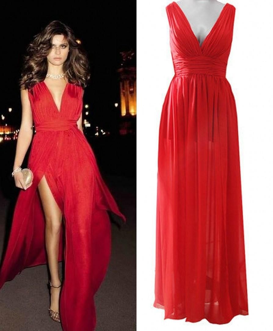 Hot sexy deep v neck red prom dresses a line side slit chiffon