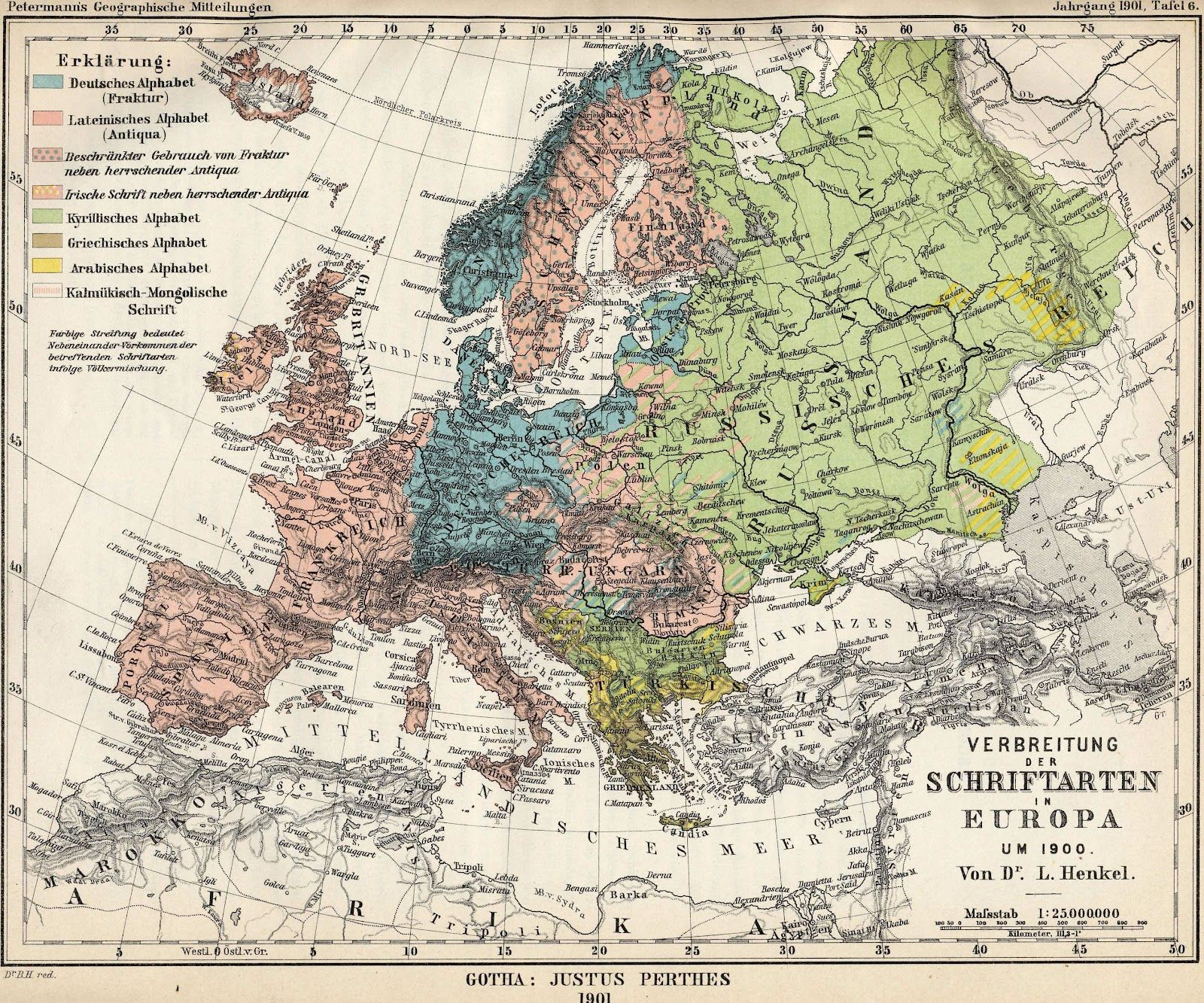 Alphabets used in Europe, 1901 #map #europe