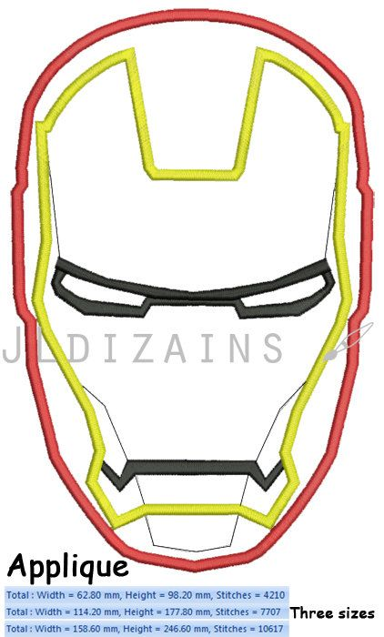 IRON MAN mask machine embroidery applique INSTANT by JLdizains