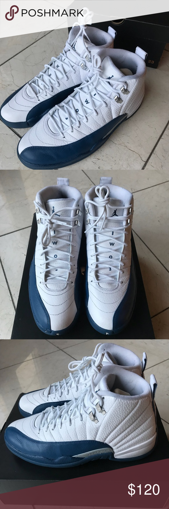 """36423696cfde Air Jordan 12 Retro """"French Blue"""" Only worn once! Air Jordan 12 Retro """"French  Blue"""" 2016. These Air Jordan s are white"""