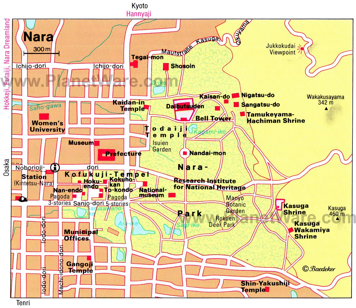 Nara Map Tourist Attractions PRINTED travel Pinterest