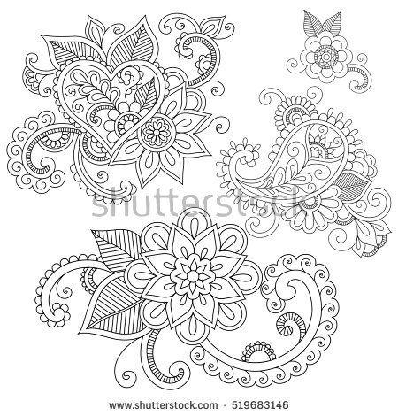 Set of floral doodle ornaments. Ethnic henna tattoo design. Doodle ...