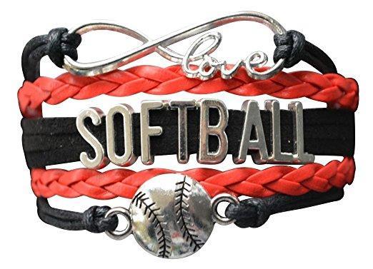 Girls Softball Infinity Bracelet-Red & Black