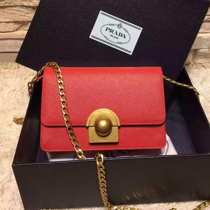 005a74b6fe Prada Small Saffiano Leather Shoulder Bag 1BH006 Red 2016