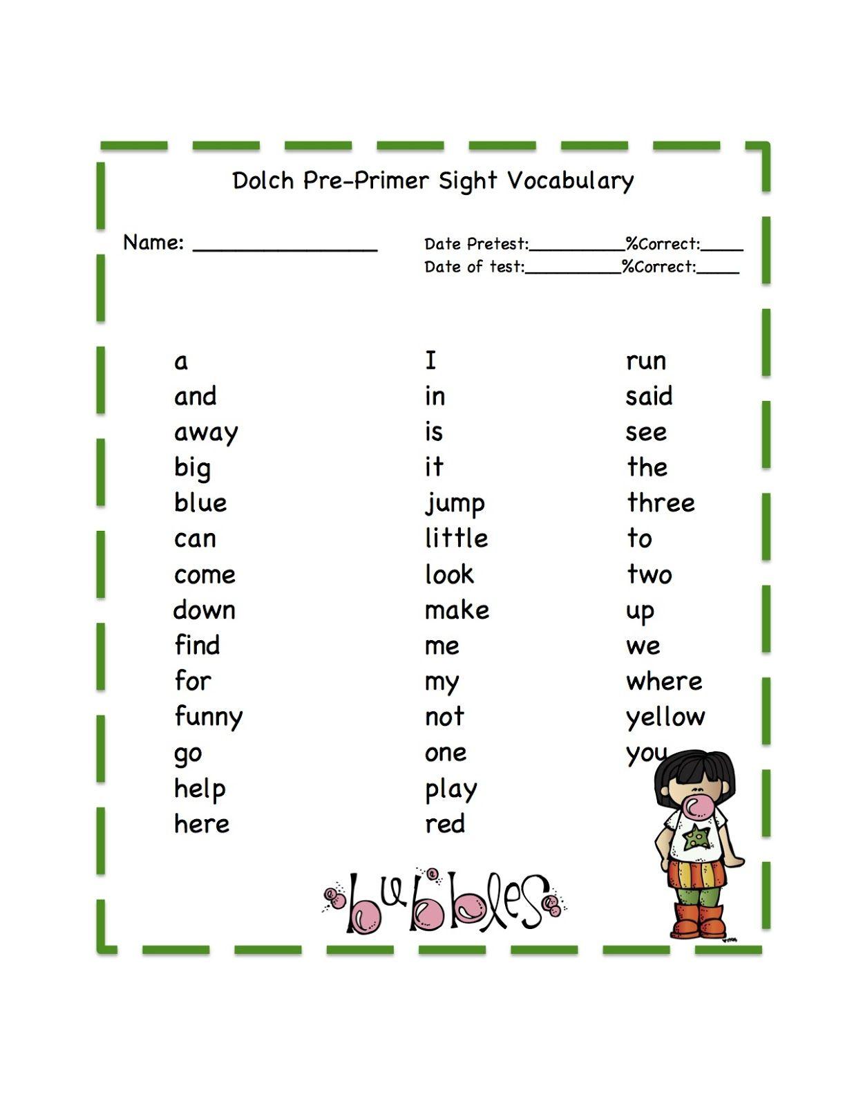 Pre Primer Tracing Site Word Cards Preschool Printables