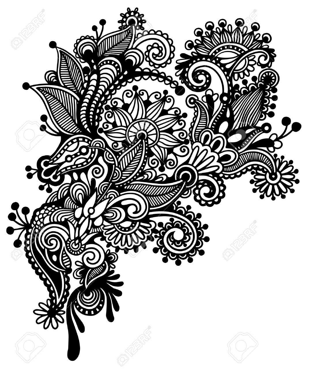 16668765blackandwhitelineartornateflowerdesign