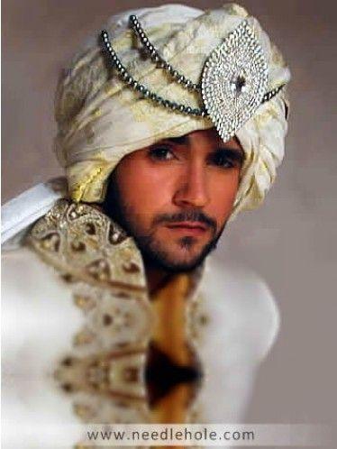 #Wedding turban for men, #pre-tied chiffon wedding turban in cream color http://www.needlehole.com/wedding-turban-for-men-in-cream-color-broche-on-front.html Pakistani #wedding turban and indian #grooms turbans. Traditional pre-tied designer turban, wedding qulla and menswear #qulla made with chiffon jamawar by #deepak perwani