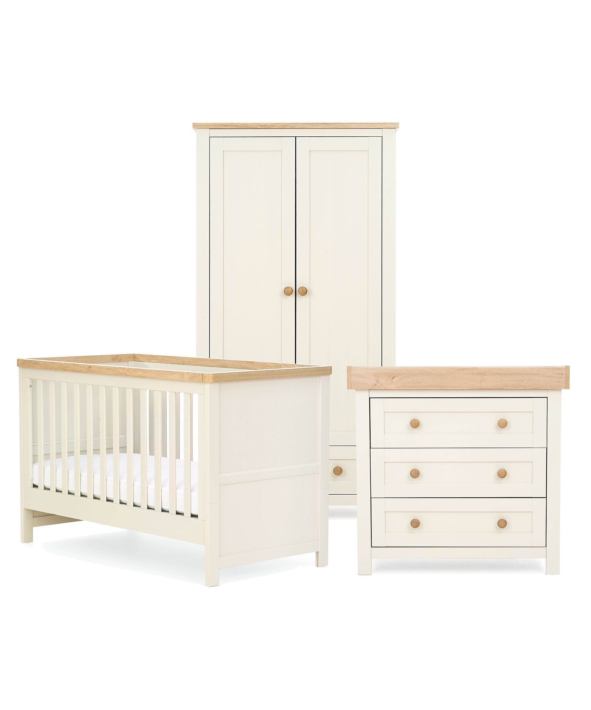 Mothercare Lulworth 3 Piece Nursery Furniture Bundle White Pepper
