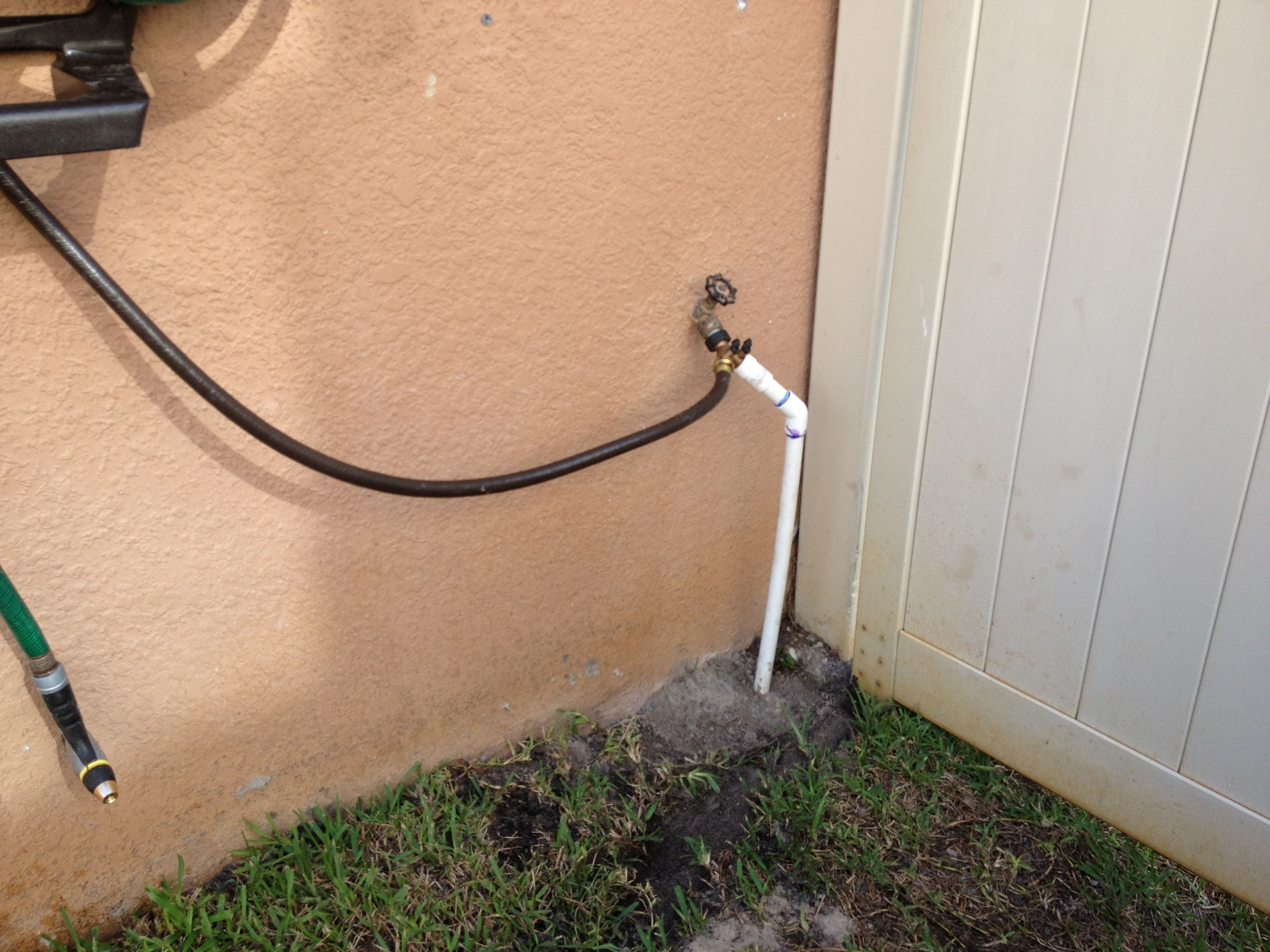 Water Supply Split From Hose Bib Using Brass Tee