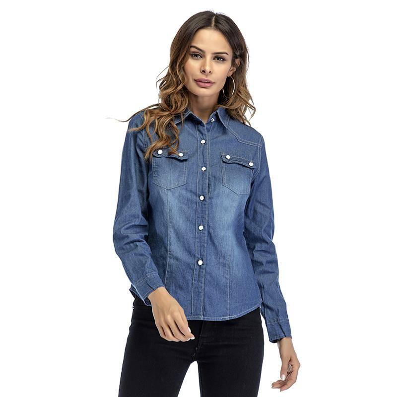 f8648e7d3 Women Long Sleeved Polo Shirts Casual Button-up Tops Spring Denim Dress  Shirt Blouse