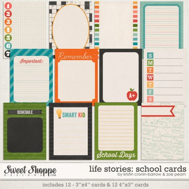 school cards - free project life printables