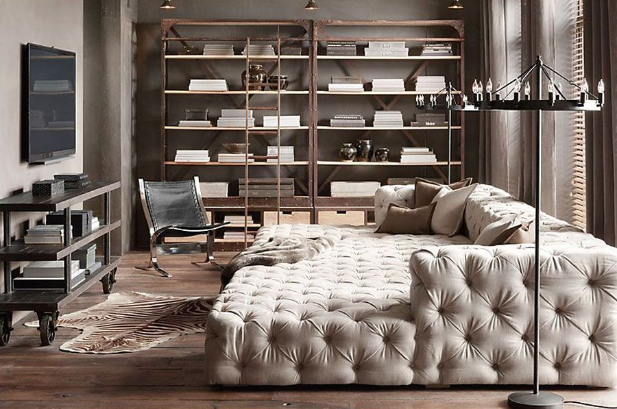 Soho Tufted Daybed Oversized Chaise Lounge Media Room Seating
