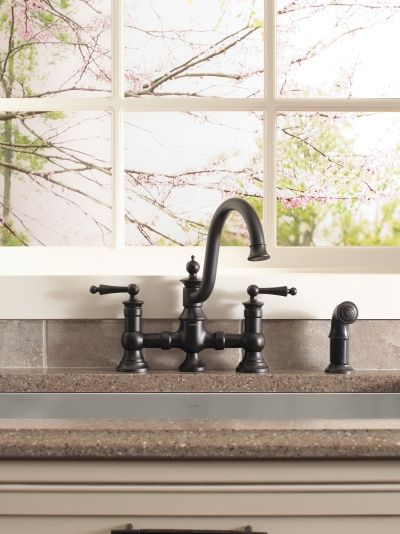 Waterhill Oil rubbed bronze two-handle high arc kitchen faucet ...