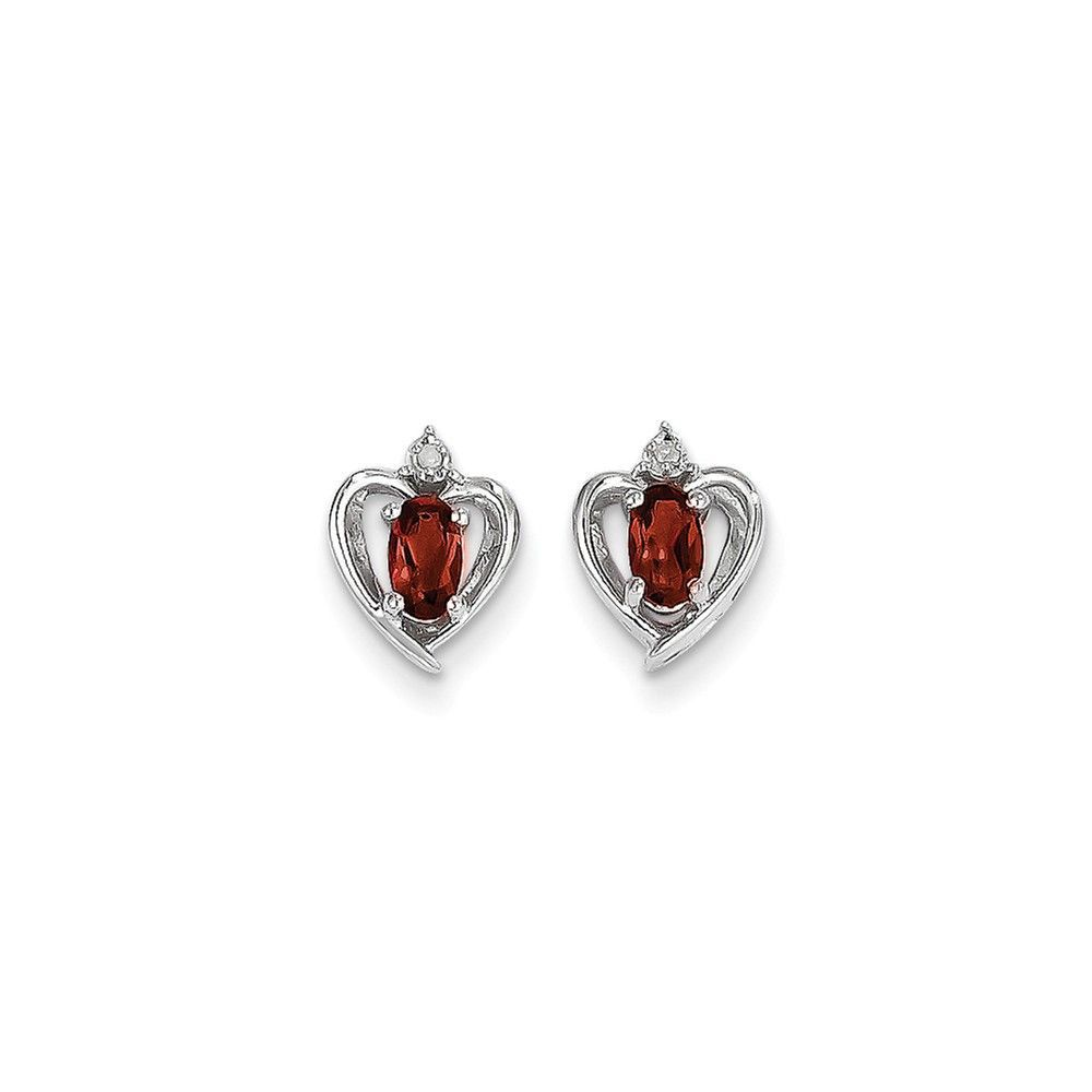 14k White Gold Garnet Diamond Earring