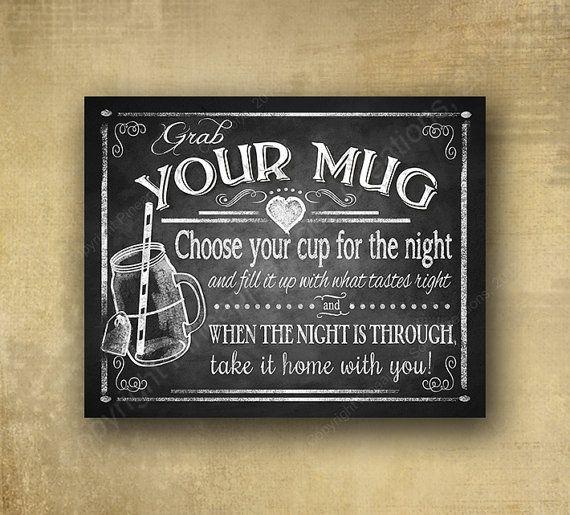"""Printed """"Grab Your Mug"""" Mason Jar Wedding Favor Sign"""