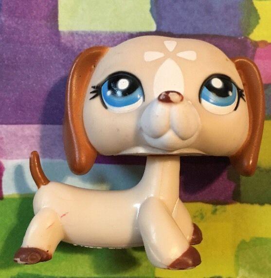Littlest Pet Shop RARE Dachshund Dog Puppy  1491 Brown Tan Mocha White LPS. Littlest Pet Shop RARE Dachshund Dog Puppy  1491 Brown Tan Mocha