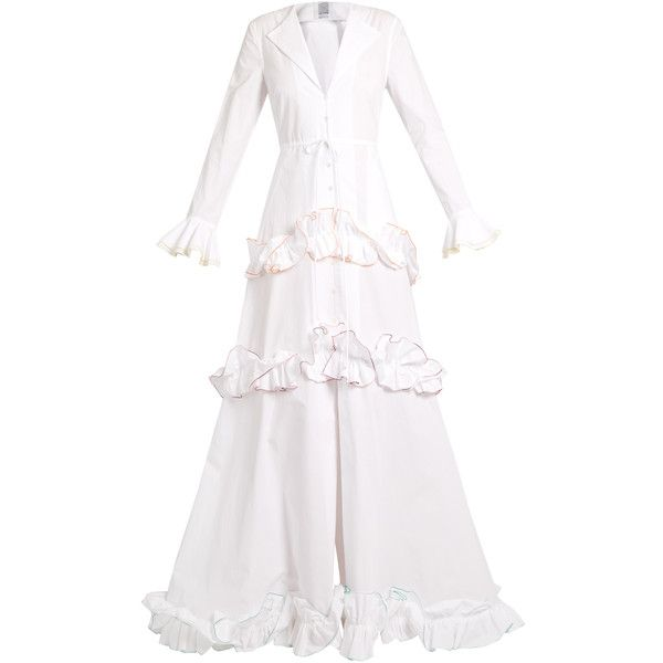 Rosie Assoulin Twisted-ruffle cotton gown (€3.970) ❤ liked on Polyvore featuring dresses, gowns, white multi, embroidered gown, white embroidered dress, white cotton dress, embroidery dresses and white evening dresses
