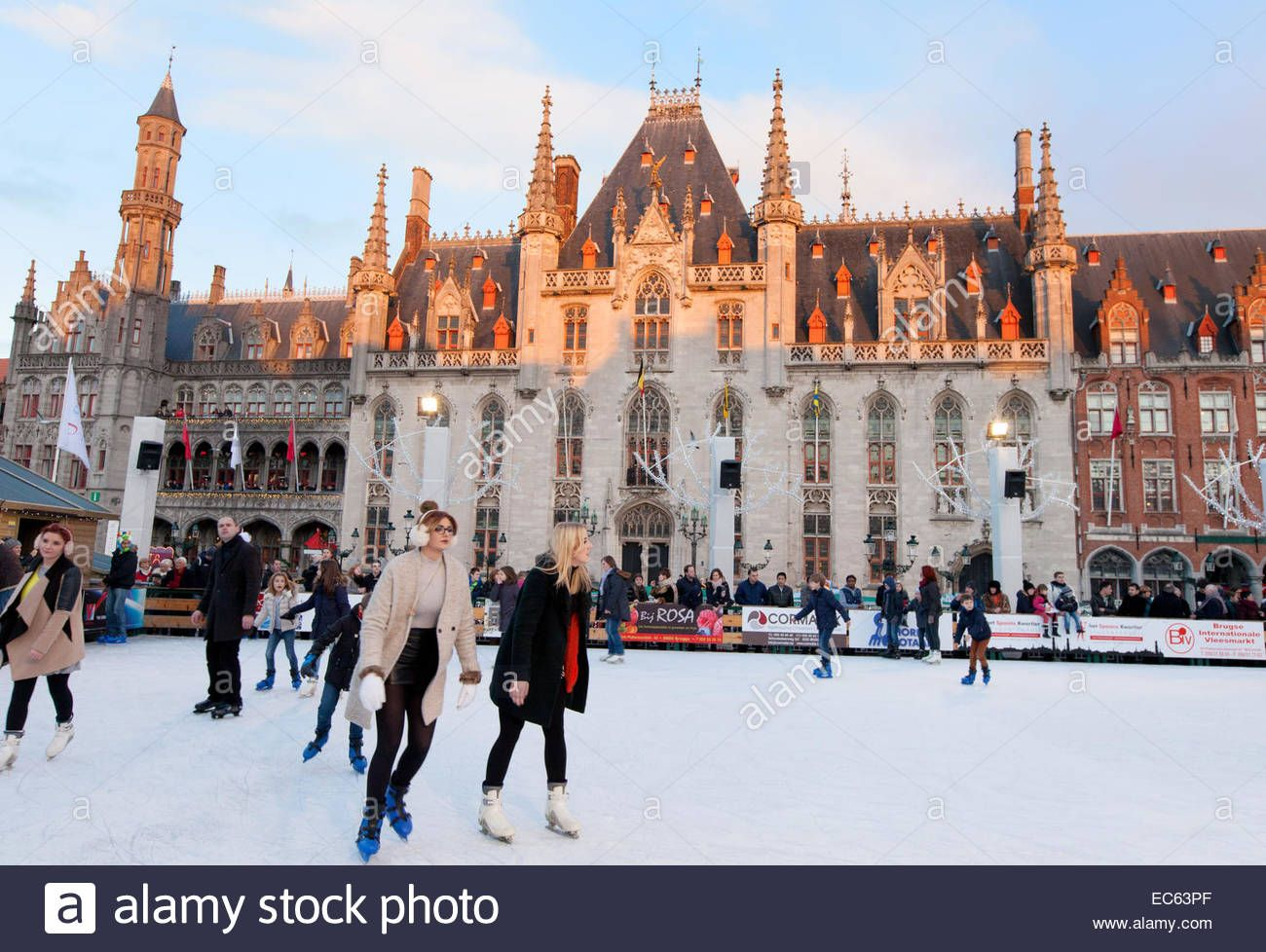 Bruges Christmas Market Images.People Ice Skating In The Market Square Markt Square In