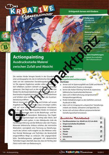 Actionpainting Ausdrucksstarke Malerei Zwischen Zufall Und Absicht Kunst Kunst Grundschule