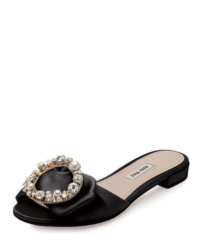 9e40947cfcd1 MIU MIU Satin Jewel-Buckle Flat Mule Slide