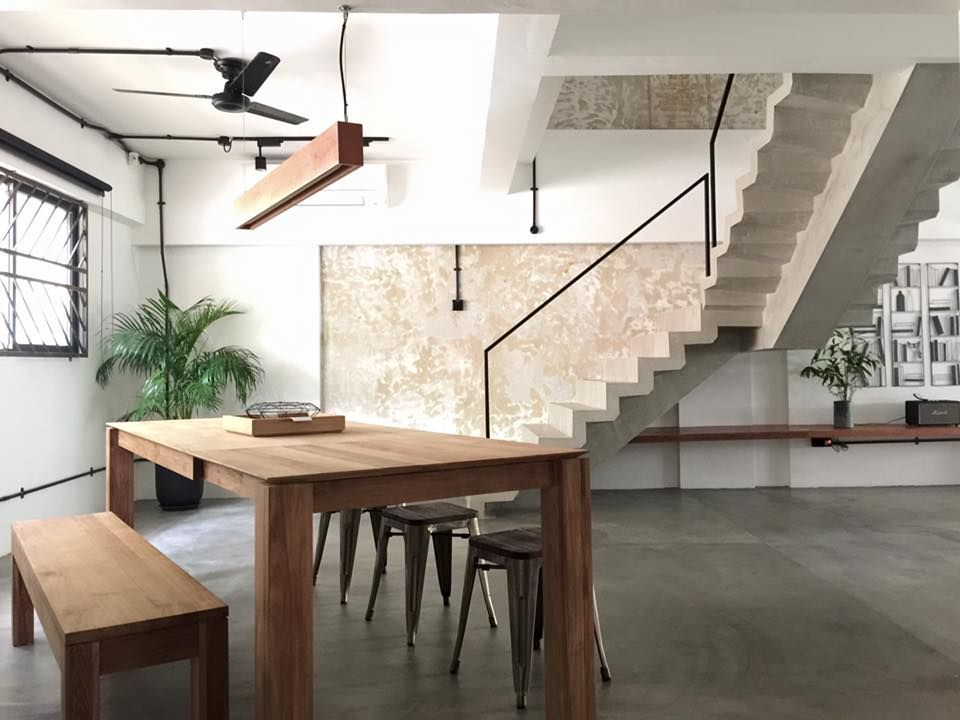 Hdb Maisonette Industrial Minimalistic Dining Room Cement Wall Interiors Pinterest