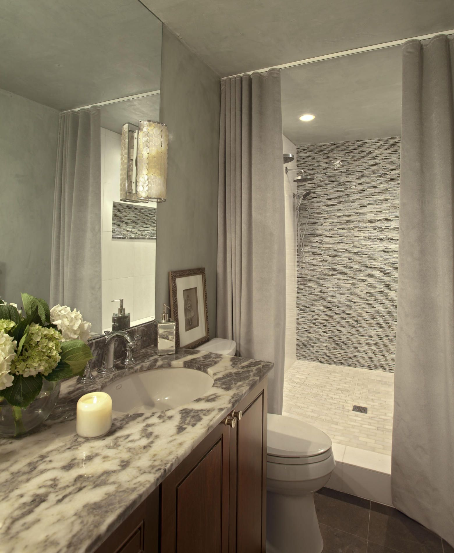 I love the tile in the shower and the counter i would for Master bathroom curtains