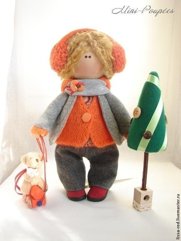 """Купить Куколка """" Девочка с другом за елкой"""" - куколка, коллекционная кукла, текстильная игрушка"""