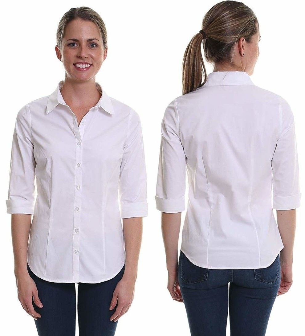 28 Pieces From Walmart That You Ll Probably Want To Layer With Everything Black Button Up Shirt Fitted Dress Shirts Work Tops [ 1090 x 990 Pixel ]