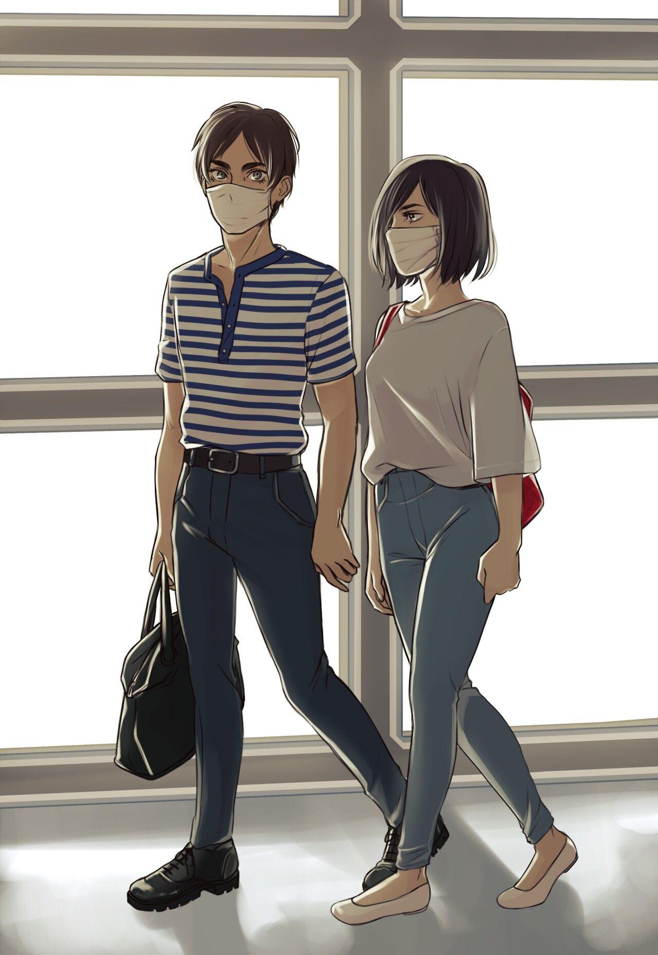 Eren And Mikasa As Kpop Idols Attack On Titan Anime Attack On Titan Eren Eren And Mikasa