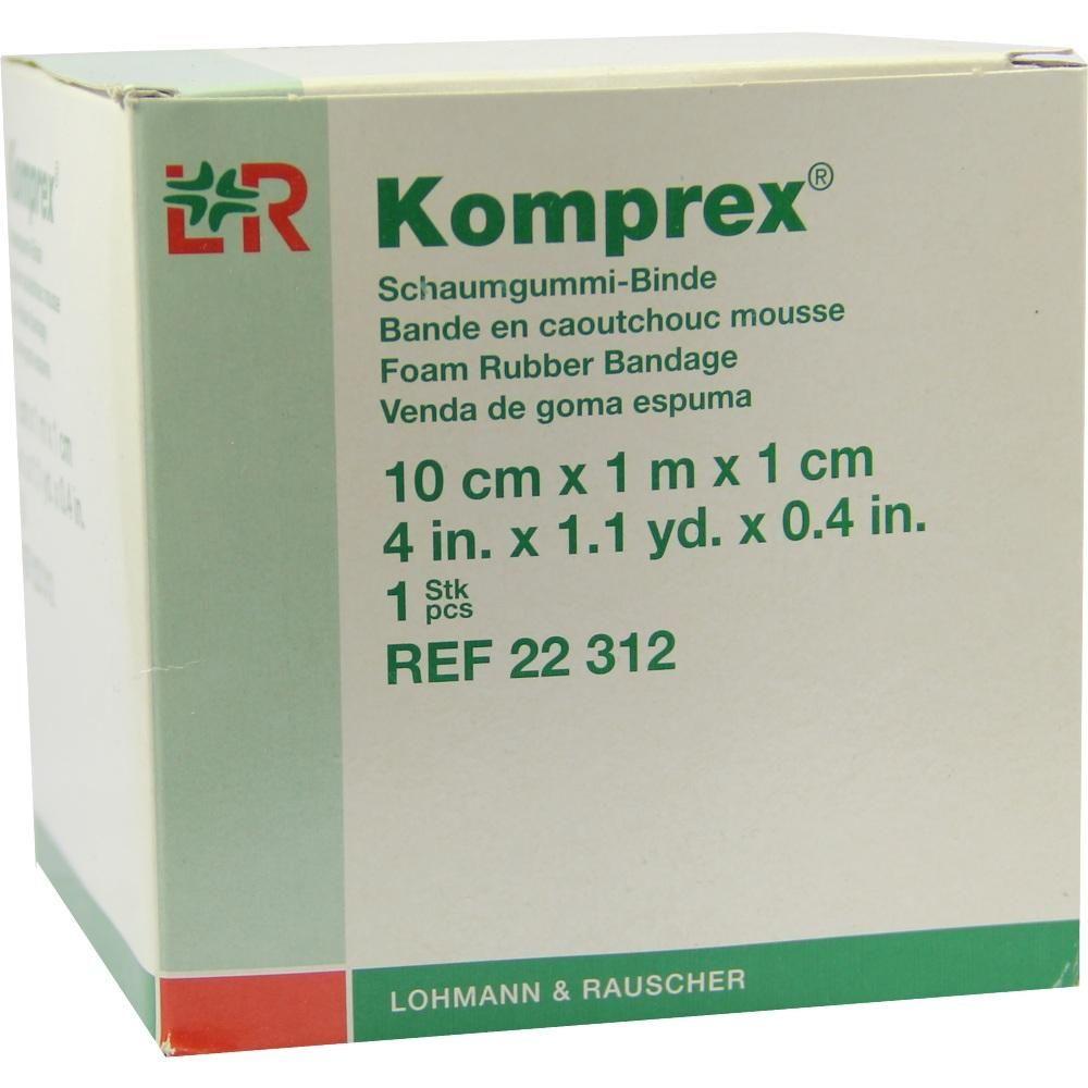 KOMPREX Schaumgummi Binde 10 cmx1 m Stärke 1 cm:   Packungsinhalt: 1 St Binden PZN: 00590987 Hersteller: Lohmann & Rauscher GmbH & Co.KG…