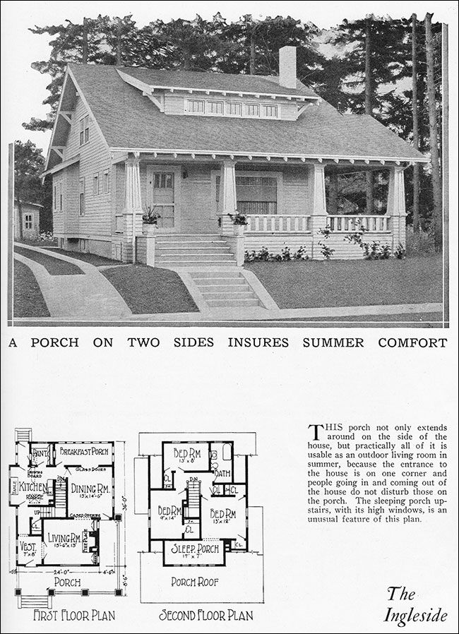 1925 The Ingleside Bungalow Radford House Plan Home Builders Blue Book Two Story Craf Craftsman Style Bungalow Craftsman House Plans Vintage House Plans