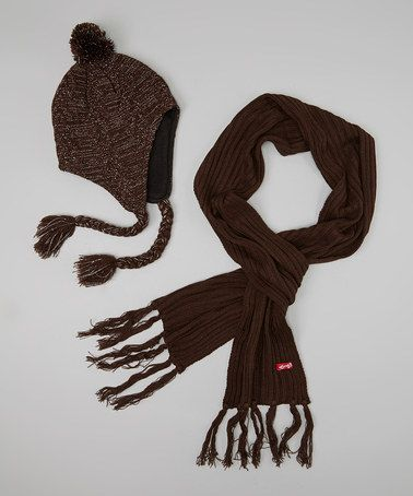 Take a look at this Brown Pom-Pom Earflap Beanie & Scarf by Kids Apparel Club on #zulily today!