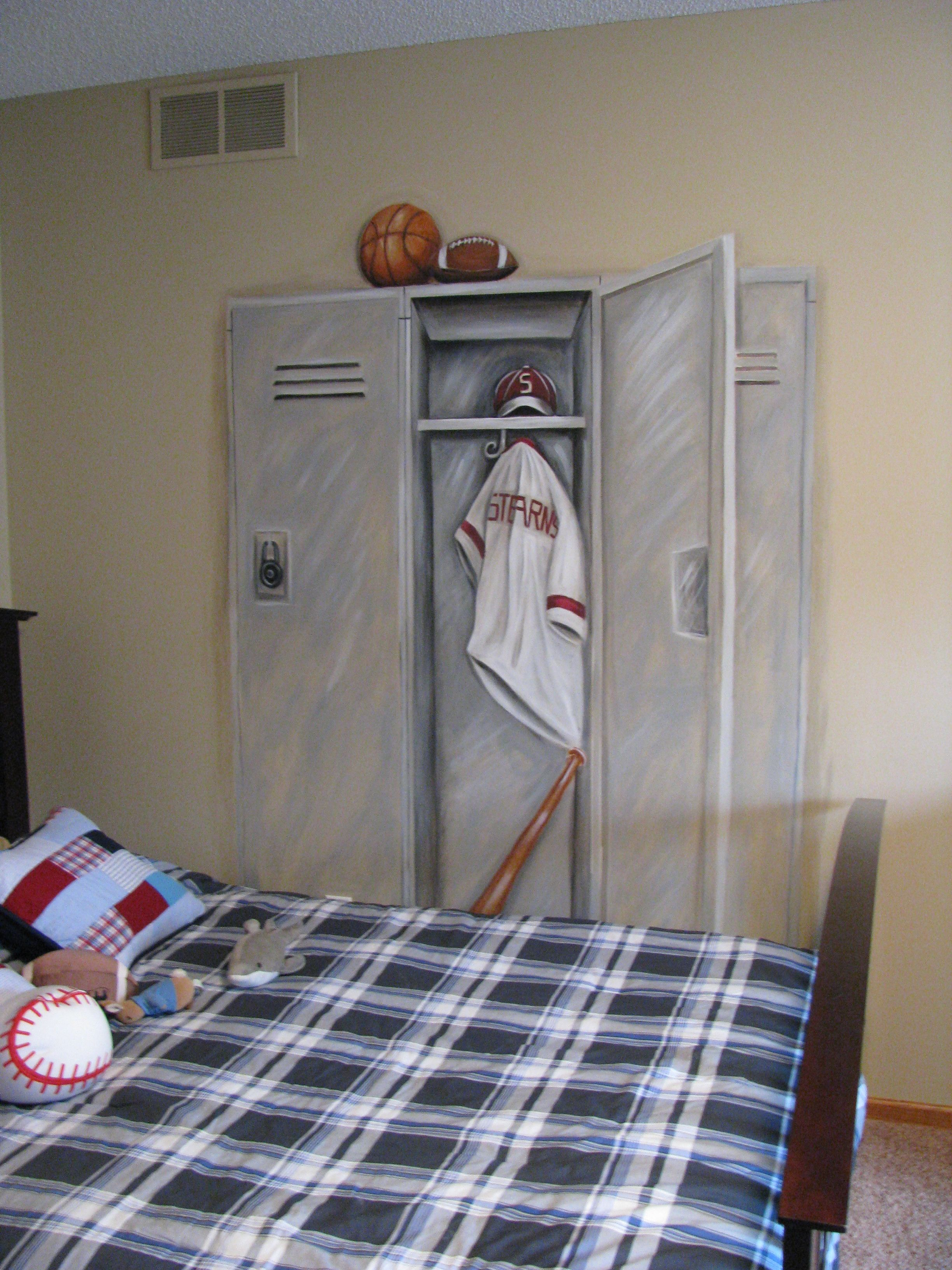 sports locker mural my paintings projects pinterest lockers sports locker mural