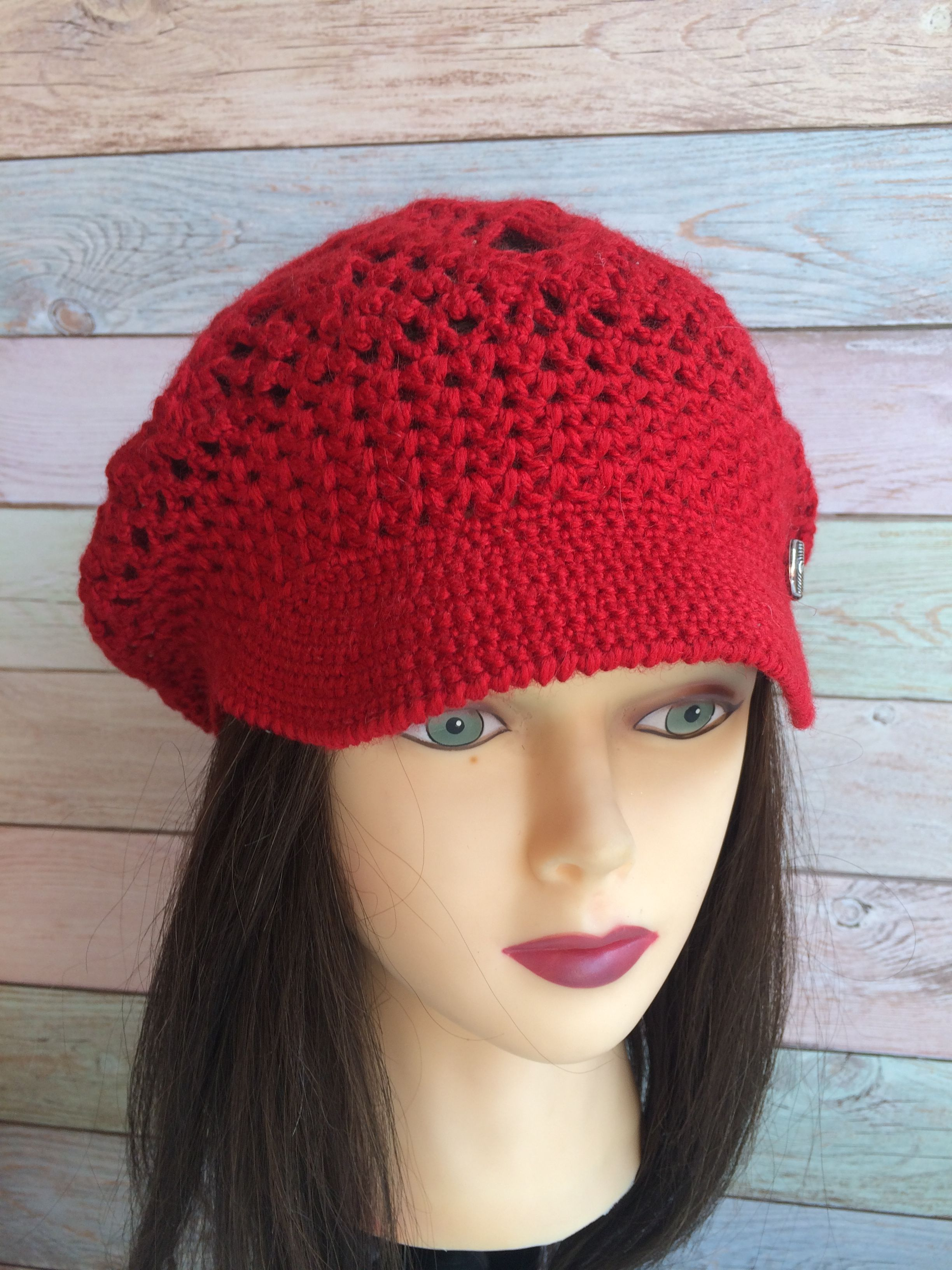 Crochet Brim Cap Beret with a visor Textured Mesh Slouchy Cap all ... 0956628a693c
