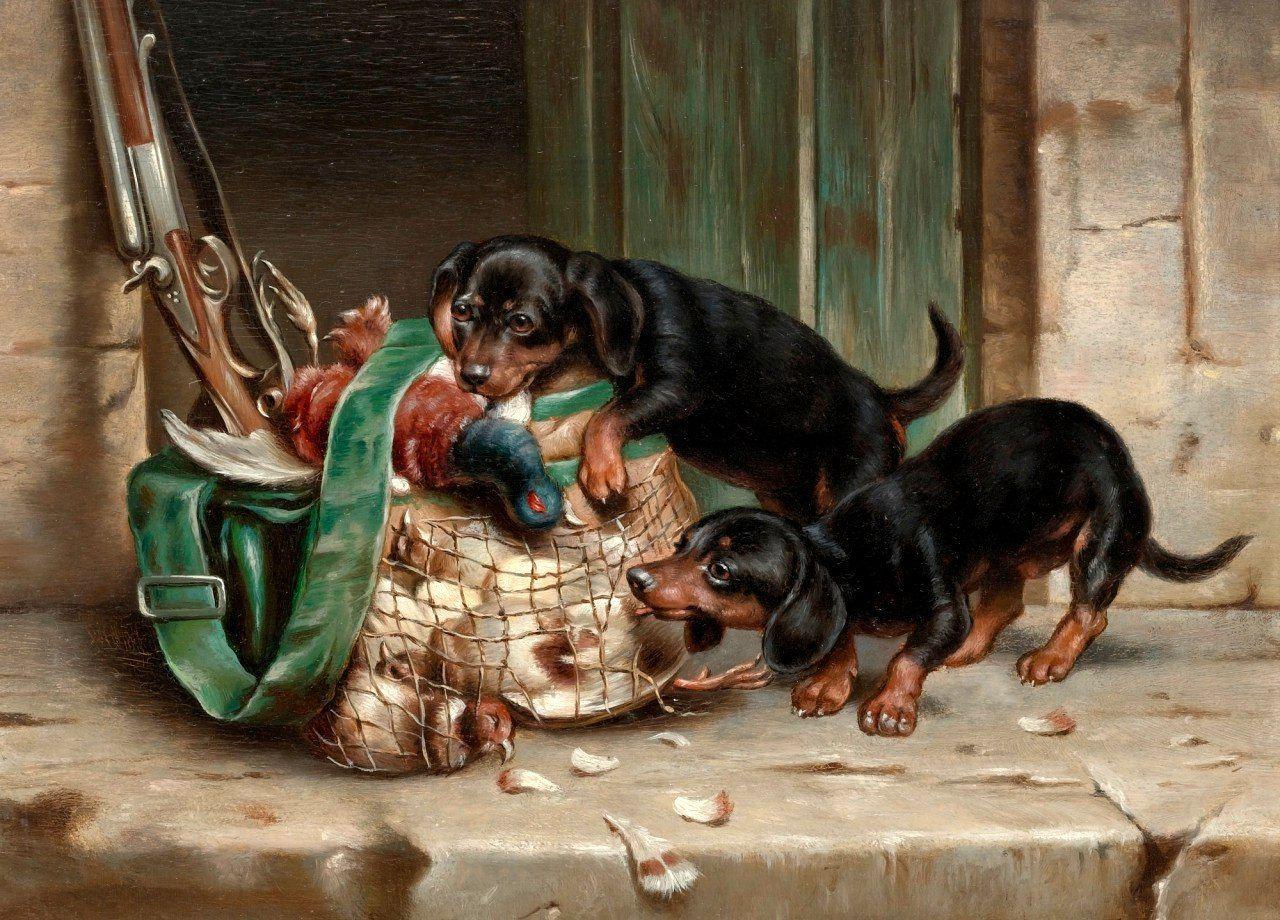 маленьком старинные картинки собак прямым