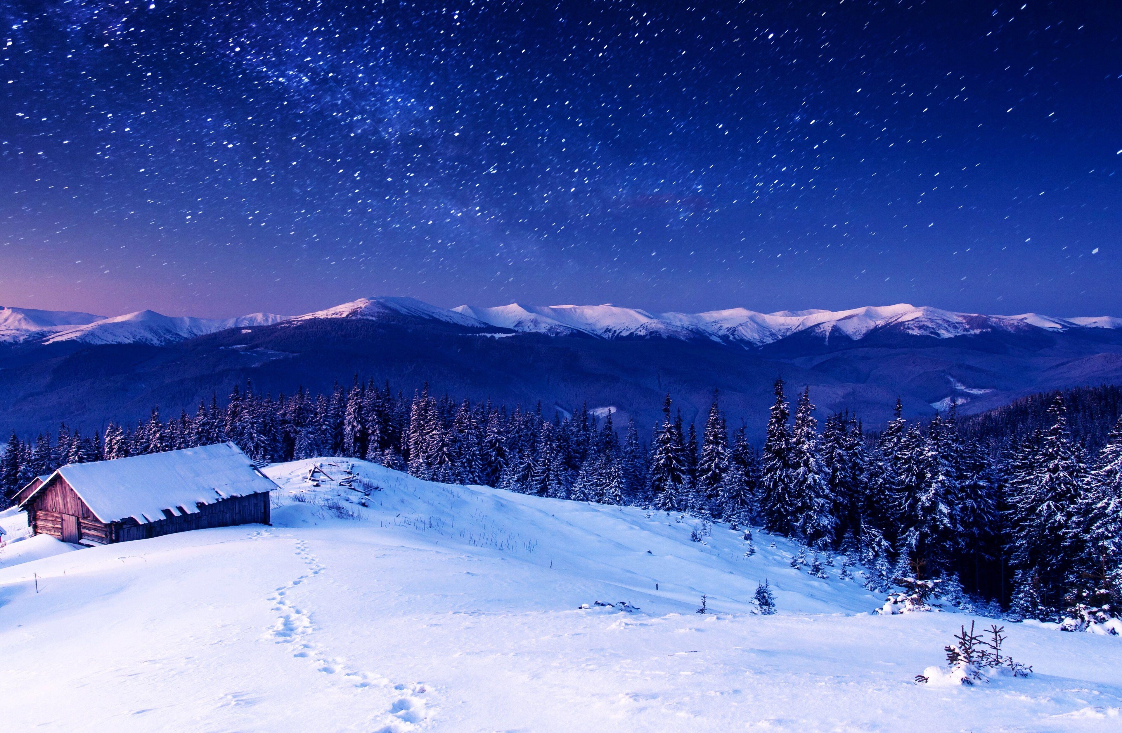 3840x2507 Mountains 4k Free Wide Hd Wallpaper Winter Mountain Winter Landscape Night Sky Wallpaper