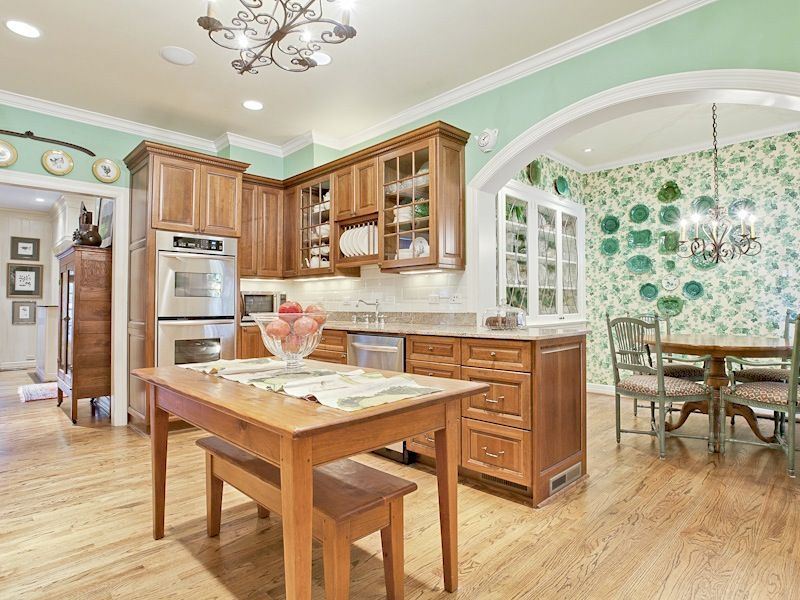 Seafoam Green Room Red Oak Cabinets Google Search Green Kitchen Walls Home Home Decor Kitchen