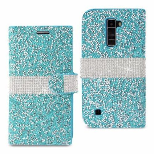 Reiko LG K10 Jewelry Rhinestone Wallet Case Blue