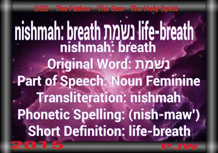 nishmah: breath Original Word: נִשְׁמַת Part of Speech ...
