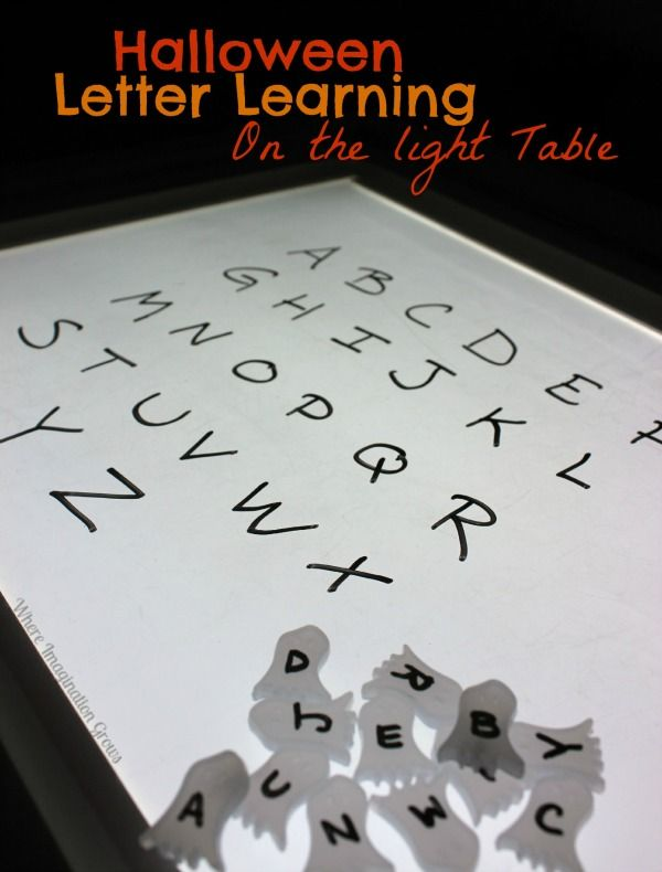 Halloween ABC Learning on the Light Table! A fun Halloween themed way for preschoolers to learn letters!