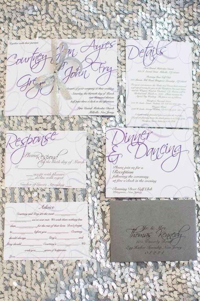 Simple Modern Purple Lavender Black White Wedding