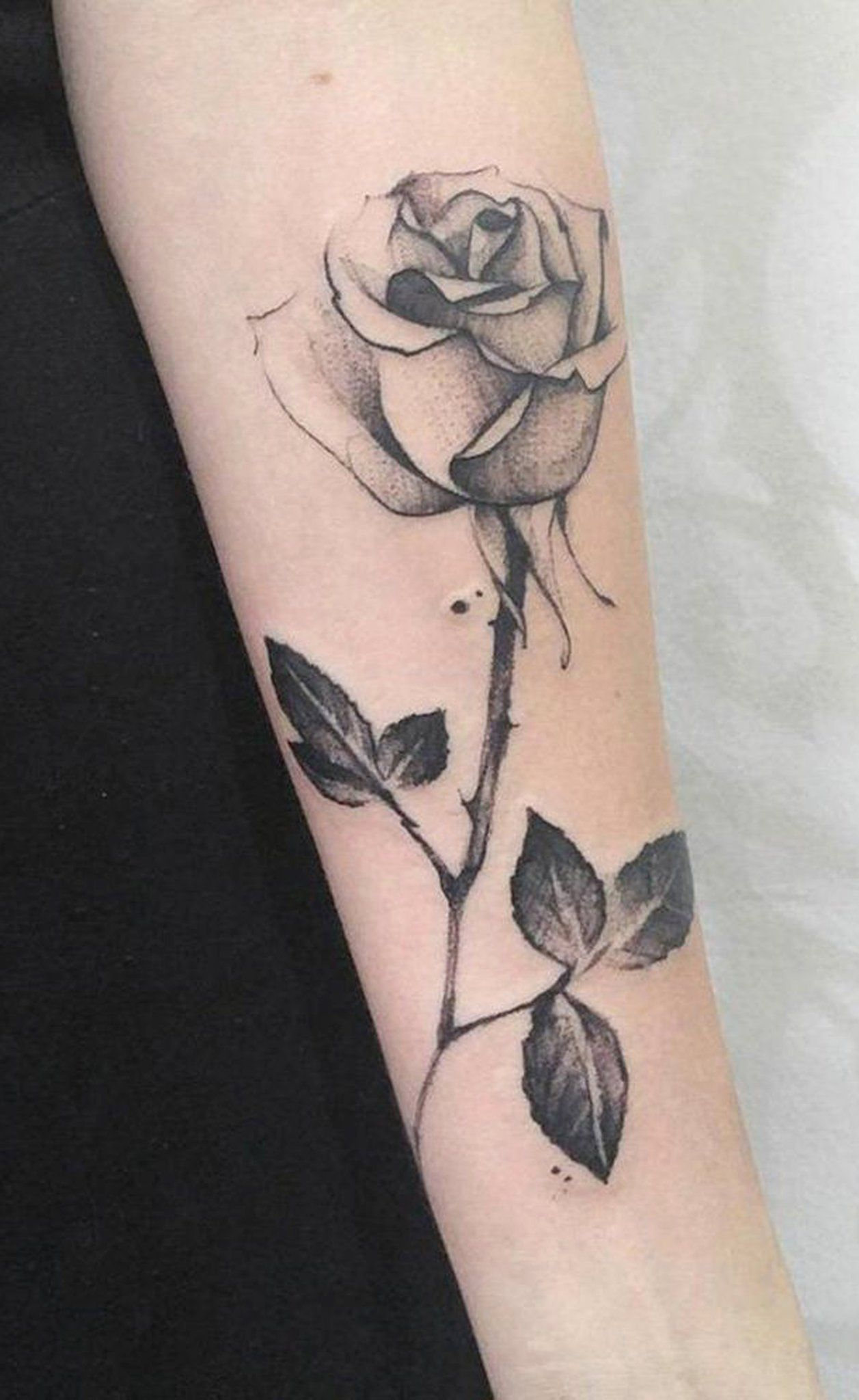 Realistic Single Rose Forearm Placement Tattoo Ideas Simple